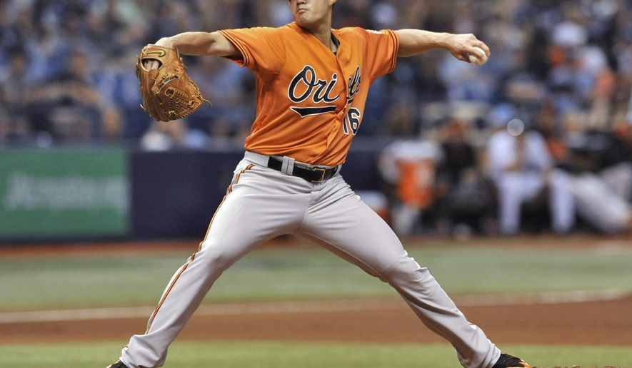 Baltimore Orioles starter Wei-Yin Chen pitches against the Tampa Bay Rays during the sixth inning of a baseball game Saturday, Sept. 19, 2015, in St. Petersburg, Fla. (AP Photo/Steve Nesius)