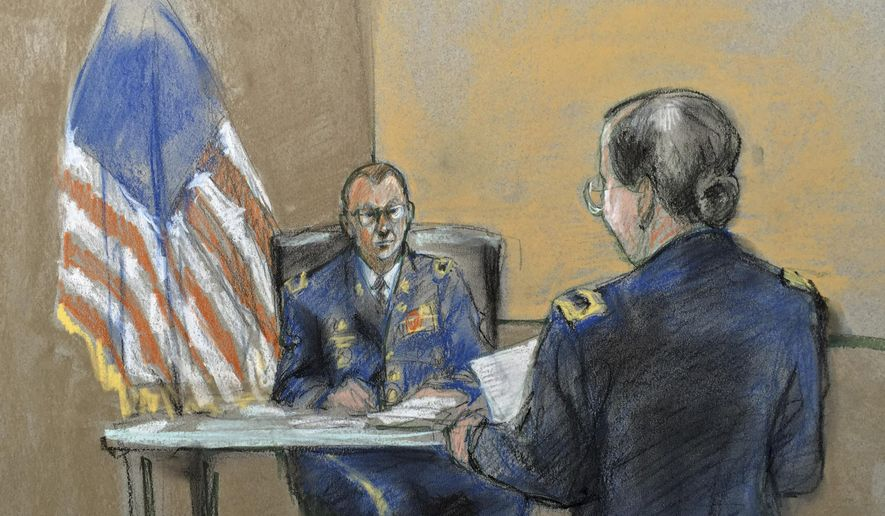 Hearing officer Lt. Col. Mark A. Visger, left, listens to prosecutor Maj. Margaret V. Kurz during a preliminary hearing to determine if Army Sgt. Bowe Bergdahl will be court-martialed, Friday, Sept. 18, 2015, at Fort Sam Houston, Texas. Bergdahl, who left his post in Afghanistan and was held by the Taliban for five years, is charged with desertion and misbehavior before the enemy. (Brigitte Woosley via AP)