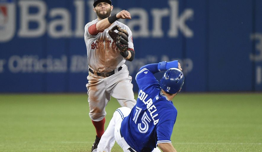 Boston Red Sox second baseman Dustin Pedroia, left, forces out Toronto Blue Jays first baseman Chris Colabello at second base then turns the double play over to out Blue Jays Russell Martin at fist base during the first inning of a baseball game, Saturday, Sept. 19, 2015 in Toronto.  (Nathan Denette/The Canadian Press via AP) MANDATORY CREDIT