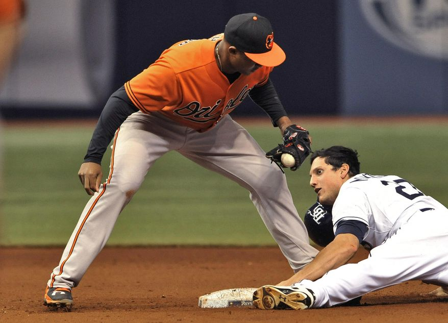 Baltimore Orioles' Jonathan Schoop, left, tags out Tampa Bay Rays pinch runner Mikie Mahtook, right, on a stolen base attempt during the eighth inning of a baseball game Saturday, Sept. 19, 2015, in St. Petersburg, Fla. (AP Photo/Steve Nesius)