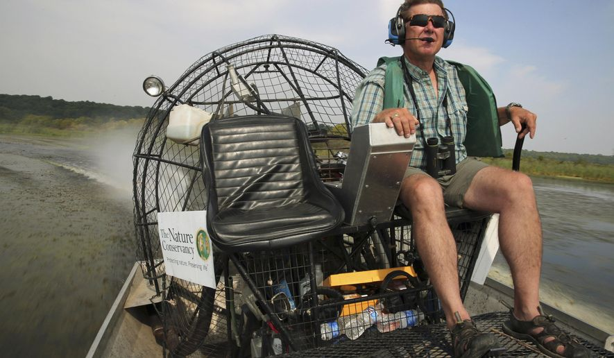 In this Sept. 2, 2015 photo, Douglas Blodgett, the director of river conservation for the Illinois chapter of The Nature Conservancy, drives an airboat though the Emiquon National Wildlife Refuge near Lewistown, Ill. The Nature Conservancy plans to start allowing the flow of Illinois River water into the pristine preserve in central Illinois, a step the group believes will help the health of the 7,000-acre wetland. But critics say the plan might not work, and could threaten what has been a thriving home to plants and wildlife along the once highly-polluted river. (Anthony Souffle/Chicago Tribune via AP)
