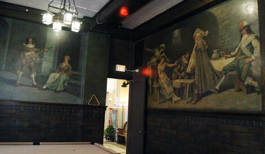 FOR RELEASE SUNDAY, SEPTEMBER 20, 2015, AT 12:01 A.M. CDT - This Sept. 1, 2015 photo shows murals painted over 100 years ago by Italian-born artist Signor Aniello A. Aprea, of Minneapolis, for the Clarke Hotel, on display at the Kensington Assisted Living Facility in Hastings, Neb. The paintings were restored in 1988 by area artists prior to the building's reopening as an assisted living facility. (Amy Roh/The Hastings Tribune via AP) MANDATORY CREDIT