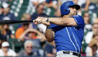 Kansas City Royals' Kendrys Morales (25) hits a solo home run, his third home run of a baseball game, against the Detroit Tigers during the eighth inning at Comerica Park Sunday, Sept. 20, 2015, in Detroit. (AP Photo/Duane Burleson)