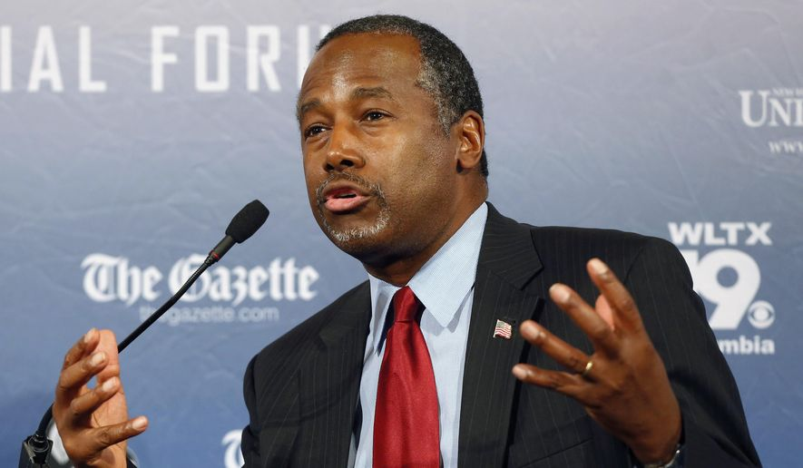 Republican presidential candidate and retired neurosurgeon Ben Carson speaks during a forum in Manchester, N.H., on Aug. 3, 2015. (Associated Press) ** FILE **