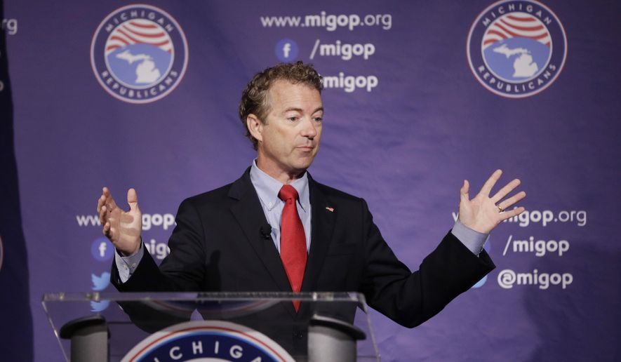 Republican presidential candidate, Sen. Rand Paul, R-Ky., addresses the 2016 Mackinac Republican Leadership Conference, Saturday, Sept. 19, 2015, in Mackinac Island, Mich. (AP Photo/Carlos Osorio) ** FILE **