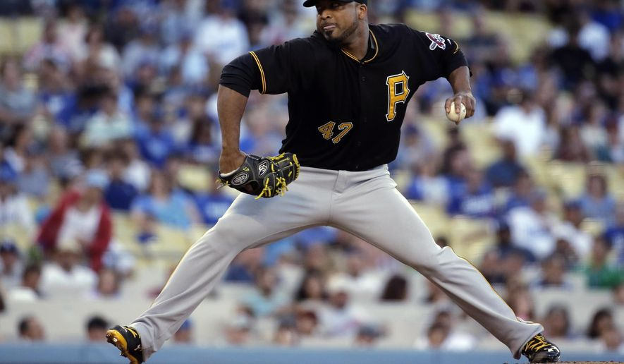 Pittsburgh Pirates starting pitcher Francisco Liriano throws against the Los Angeles Dodgers during the first inning of a baseball game in Los Angeles, Saturday, Sept. 19, 2015. (AP Photo/Chris Carlson)