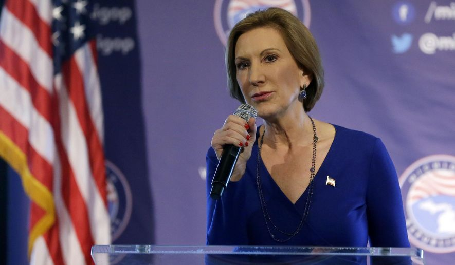 Republican presidential candidate, businesswoman Carly Fiorina addresses the 2016 Mackinac Republican Leadership Conference, Saturday, Sept. 19, 2015, in Mackinac Island, Mich. (AP Photo/Carlos Osorio)