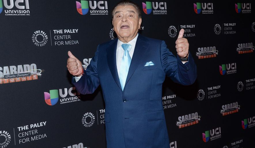 "FILE - In this Tuesday, Sept. 8, 2015, file photo, television personality Mario Kreutzberger, aka Don Francisco, arrives at an event to be honored by the Univision Network & The Paley Center for Media, for his contributions in broadcasting while hosting the ""Sabado Gigante"" variety show, in New York. Francisco ended a 53-year career Saturday, Sept. 19, 2015, offering a last, emotional show in which President Barack Obama and his wife praised him by video and a constellation of Latin American pop stars thanked him for advancing their careers. (Photo by Evan Agostini/Invision/AP, File)"