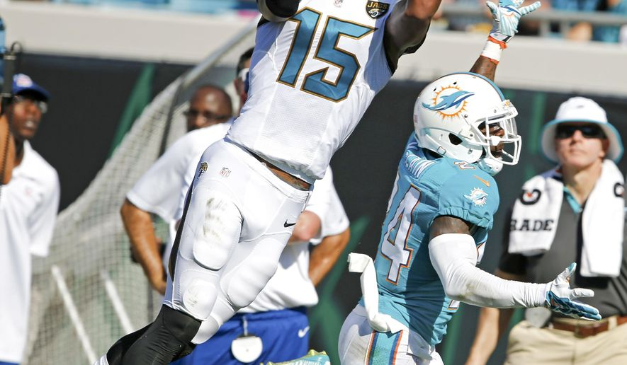 Jacksonville Jaguars wide receiver Allen Robinson (15) goes up for a catch as he is defended by Miami Dolphins cornerback Brice McCain, right, during the first half of an NFL football game in Jacksonville, Fla., Sunday, Sept. 20, 2015.(AP Photo/Stephen B. Morton)