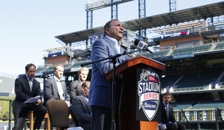 National Hockey League Commissioner Gary Bettman speaks during a news conference Monday, Sept. 21, 2015, in Denver to announce that Coors Field will host the 2016 NHL Stadium Series hockey game. The game between the Red Wings and Avalanche is set for Saturday, Feb. 27 and will be proceeded by alumni games and a college hockey game as well between the University of Denver and Colorado College. (AP Photo/David Zalubowski)