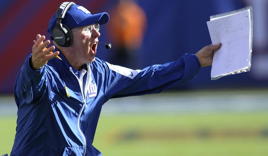 New York Giants head coach Tom Coughlin reacts during the second half of an NFL football game against the Atlanta Falcons, Sunday, Sept. 20, 2015, in East Rutherford, N.J. The Falcons won 24-20. (AP Photo/Bill Kostroun)