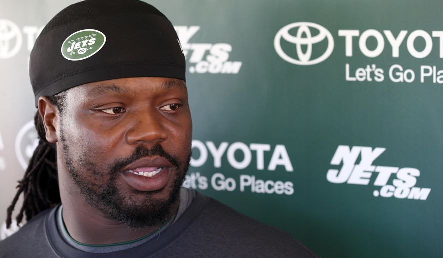 FILE - In this July 31, 2015, file photo, New York Jets nose tackle Damon Harrison talks with reporters at NFL football training camp in Florham Park, N.J. Harrison has made his presence felt on the Jets' defense, working his way from being an undrafted free agent out of William Penn in 2012 to a starting NFL nose tackle. (AP Photo/Adam Hunger, File)