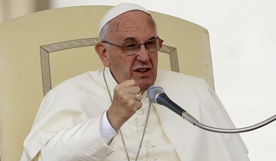 In this Sept. 16, 2015, file photo, Pope Francis speaks during the weekly general audience in St. Peter's Square at the Vatican. (AP Photo/Gregorio Borgia, File)