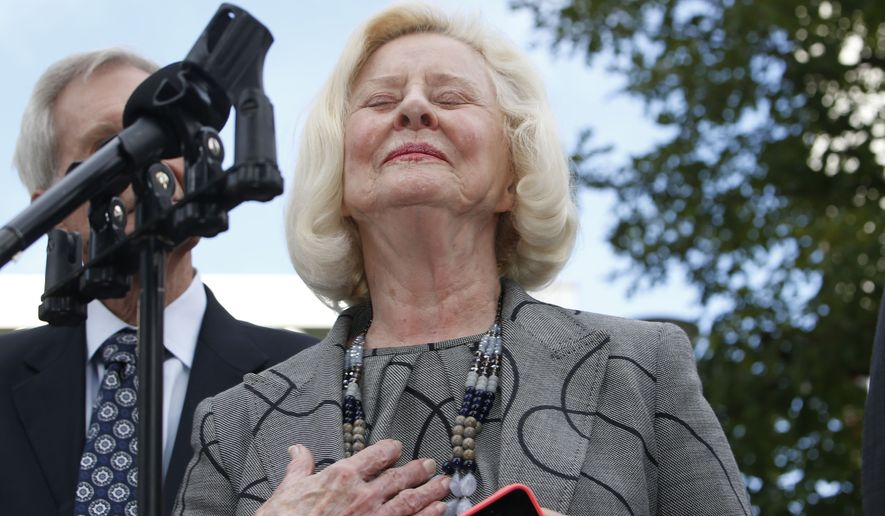 Yvonne Bertolet reacts during a news conference regarding a verdict for the death of her daughter, Toni Henthorn, outside federal court Monday, Sept. 21, 2015, in Denver. A federal jury convicted Toni Henthorn's husband, Harold Henthorn, of murder for pushing his wife to her death off a cliff in a remote part of Rocky Mountain National Park as they hiked to celebrate their wedding anniversary in 2012. (Associated Press)