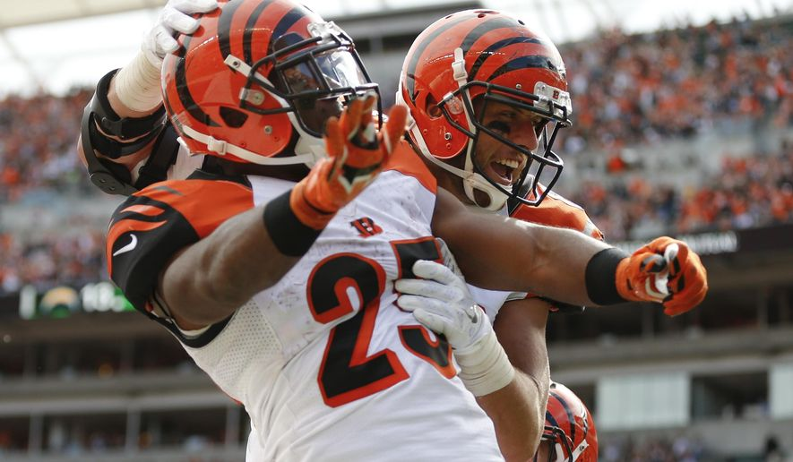 Cincinnati Bengals tight end Tyler Eifert, right, celebrates with running back Giovani Bernard (25) after scoring a touchdown in the second half of an NFL football game against the San Diego Chargers, Sunday, Sept. 20, 2015, in Cincinnati. (AP Photo/Gary Landers)