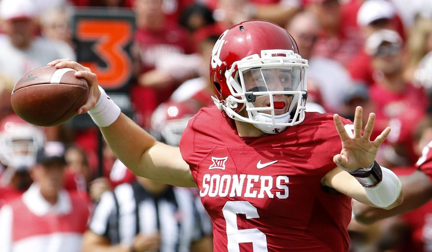 Oklahoma quarterback Baker Mayfield (6) passes against Tulsa during the third quarter of an NCAA college football game in Norman, Okla., Saturday, Sept. 19, 2015. Oklahoma won 52-38. (AP Photo/Alonzo Adams)