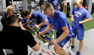 Tampa Bay Lightning captain Steven Stamkos, center, and Ryan Callahan, left,  tests on the peak bike during testing/physicals at NHL hockey training camp Thursday, Sept. 17, 2015, in Tampa.(Jay Conner/Tampa Tribune via AP). ST. PETERSBURG OUT; LAKELAND OUT; BRADENTON OUT; MAGS OUT; LOCAL TV OUT; WTSP CH 10 OUT; WFTS CH 28 OUT; WTVT CH 13 OUT; BAYNEWS 9 OUT; THE TAMPA BAY TIMES OUT; LAKELAND LEDGER OUT; BRADENTON HERALD OUT; SARASOTA HERALD-TRIBUNE OUT; WINTER HAVEN NEWS CHIEF OUT; ONLINE OUT