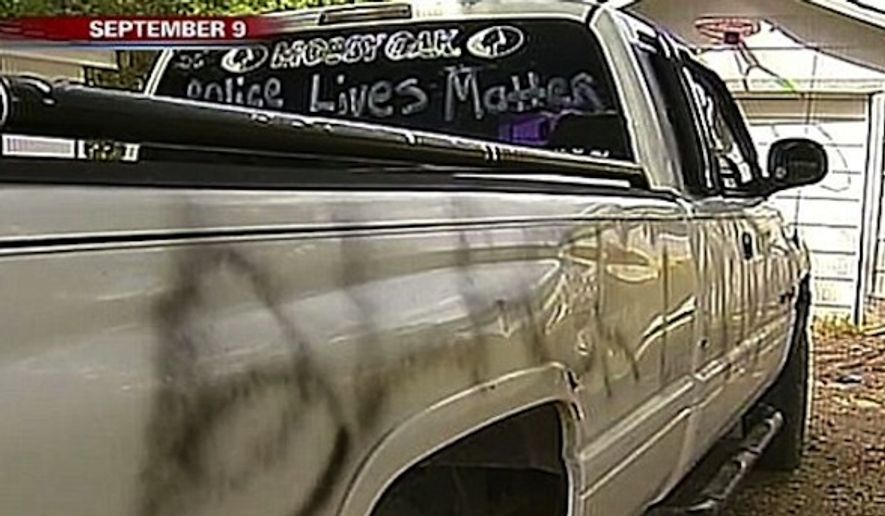 """Scott Lattin, a Central Texas man who raised more than $6,000 online after he claimed vandals painted """"Black Lives Matter"""" on his truck, has been arrested on charges of making a false police report. (FOX4 News)"""