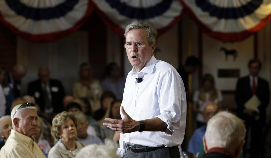Republican presidential candidate former Florida Gov. Jeb Bush speaks during a town hall meeting at The Music Man Square, Monday, Sept. 21, 2015, in Mason City, Iowa. (AP Photo/Charlie Neibergall)