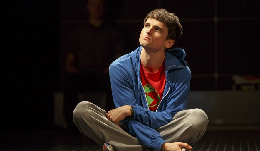 "In this image released by Boneau/Bryan-Brown, Tyler Lea appears during a performance of ""The Curious Incident of the Dog in the Night-Time"" in New York. Lea steps into the Tony Award-winning play about a 15-year-old with autism, replacing Alex Sharp, who won a best actor Tony. (Joan Marcus/Boneau/Bryan-Brown via AP)"
