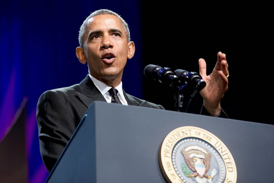 In this Sept. 19, 2015, file photo, President Barack Obama speaks at the Congressional Black Caucus Foundations 45th Annual Legislative Conference Phoenix Awards Dinner at the Walter E. Washington Convention Center in Washington. (AP Photo/Carolyn Kaster, File)