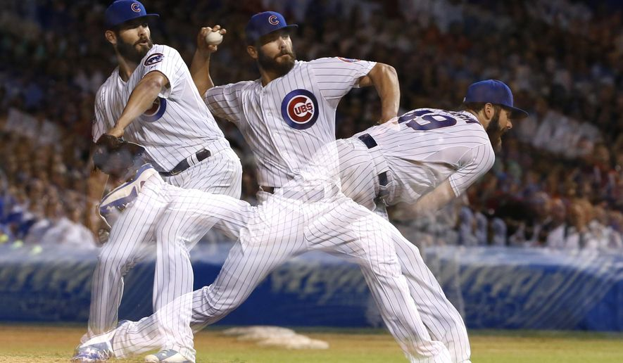 In this multiple exposure photo, Chicago Cubs starting pitcher Jake Arrieta delivers during the ninth inning of a baseball game against the Milwaukee Brewers, Tuesday, Sept. 22, 2015, in Chicago. The Cubs won 4-0. (AP Photo/Charles Rex Arbogast)