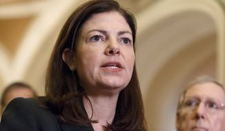 """""""Right now, we're playing a game of chicken, and it's a dangerous game,"""" said Sen. Kelly Ayotte of New Hampshire, who pleaded for her fellow Republicans to forgo a repeat of the 16-day shutdown in 2013. (Associated Press)"""