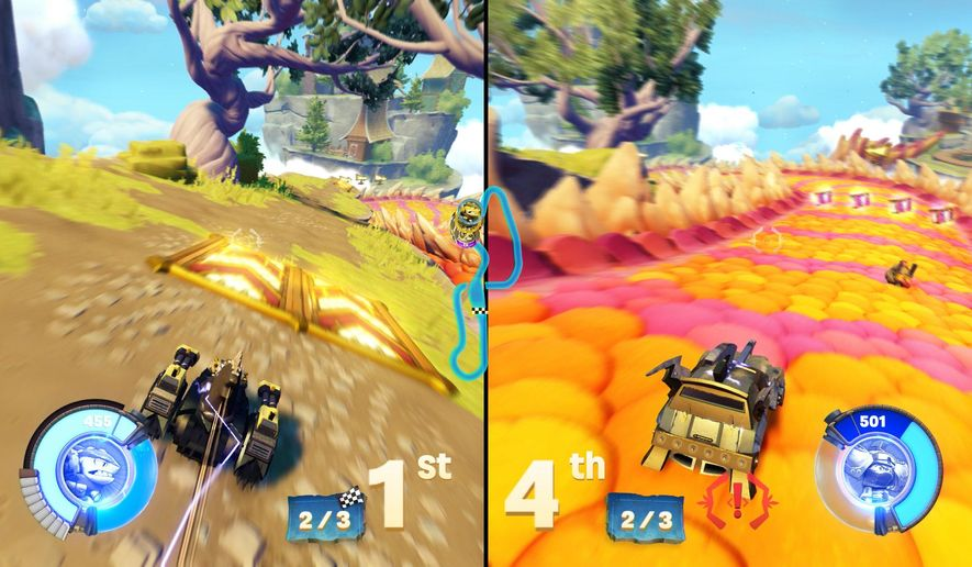"This video image released by Activision shows a split screen from the game, ""Skylanders SuperChargers."" (Activision via AP)"