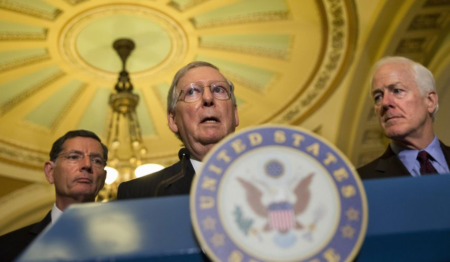 Senate Majority Leader Mitch McConnell, Kentucky Republican, is flanked by Sen. John Barrasso (left), Wyoming Republican, and Senate Majority Whip John Cornyn, Texas Republican. (Associated Press/File)