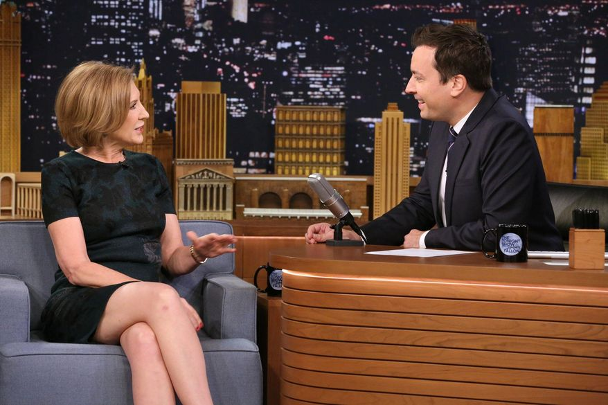 "In this image released by NBC, Republican presidential candidate Carly Fiorina, left, appears with host Jimmy Fallon during a taping of ""The Tonight Show with Jimmy Fallon,"" on Monday, Sept. 21, 2015, in New York. (Douglas Gorenstein/NBC/NBCU Photo Bank via AP)"