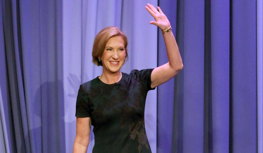 """In this image released by NBC, Republican presidential candidate Carly Fiorina, left, appears during a taping of """"The Tonight Show with Jimmy Fallon,"""" on Monday, Sept. 21, 2015, in New York. (Douglas Gorenstein/NBC/NBCU Photo Bank via AP)"""
