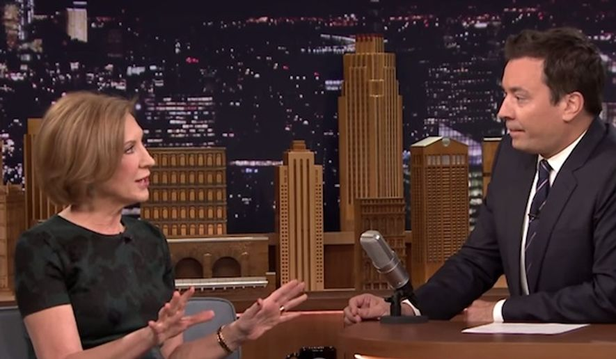 "Republican presidential candidate Carly Fiorina took a jab at fellow contender Donald Trump by comparing him to ""KGB guy"" Vladmir Putin on Jimmy Fallon's ""Tonight Show."" (YouTube/The Tonight Show Starring Jimmy Fallon)"