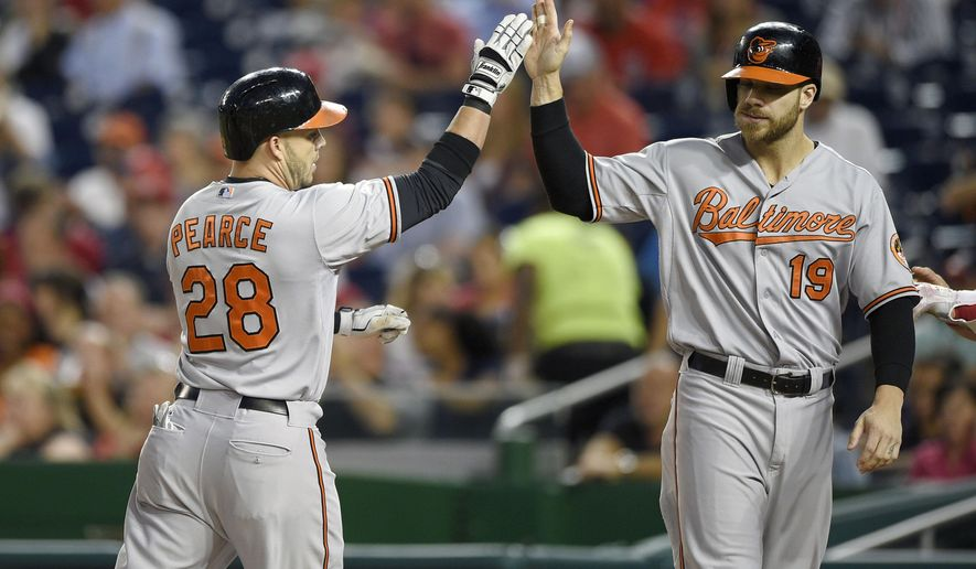 Baltimore Orioles' Steve Pearce (28) celebrates his two-run home run with Chris Davis (19) during the first inning of an interleague baseball game against the Washington Nationals, Wednesday, Sept. 23, 2015, in Washington. (AP Photo/Nick Wass)