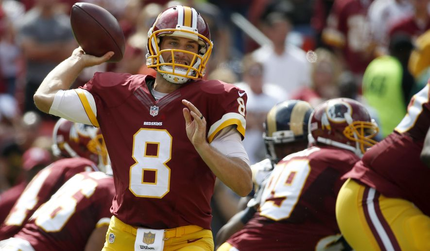 FILE - In this Sunday, Sept. 20, 2015, file phot, Washington Redskins quarterback Kirk Cousins (8) throws a pass during the first half of an NFL football game against the St. Louis Rams in Landover, Md. Successful on third downs, efficient as can be and, most importantly, avoiding turnovers Cousins is coming off a terrific performance for the Redskins as they head into Week 3 against the New York Giants. (AP Photo/Alex Brandon File)