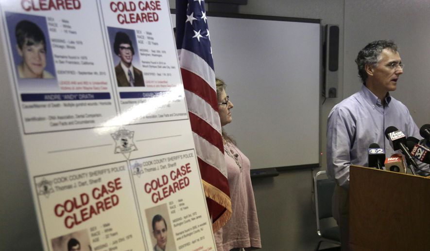 """Cook County Sheriff Tom Dart speaks at a news conference accompanied by  Dr. Willa Wertheimer Wednesday, Sept. 23, 2015, in Chicago. An effort by the sheriff's department to identify remains of young men murdered by serial killer John Wayne Gacy in the 1970s led to a break in an unrelated case of a unidentified teenager found shot to death in San Francisco 36 years ago that turned out to be her maternal Half brother Andre """"Andy"""" Drath. Dart announced Wednesday Sept. 22, 2015 that DNA tests revealed a """"genetic association"""" between the remains of the teen and Wertheimer, who submitted her DNA to the office in 2011. (AP Photo/M. Spencer Green)"""