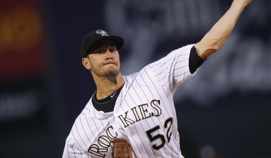 Colorado Rockies starting pitcher Chris Rusin works against the Pittsburgh Pirates during the first inning of a baseball game Tuesday, Sept. 22, 2015, in Denver. (AP Photo/David Zalubowski)
