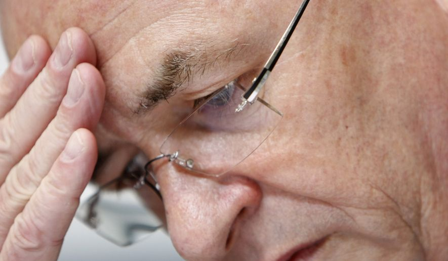FILE - In this May 13, 2009 file photo Martin Winterkorn, CEO of Volkswagen, ponders during the shareholders' meeting of German car producer Audi in Neckarsulm, Germany. Volkswagen CEO Martin Winterkorn said Wednesday, Sept. 23, 2015 he is stepping down.   (AP Photo/Thomas Kienzle)