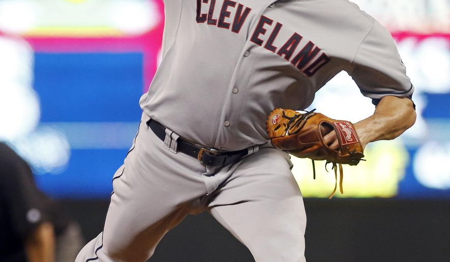 Cleveland Indians pitcher Jeff Manship throws against the Minnesota Twins in the seventh inning of  baseball game, Tuesday, Sept. 22, 2015, in Minneapolis. The Twins won 3-1.  (AP Photo/Jim Mone)