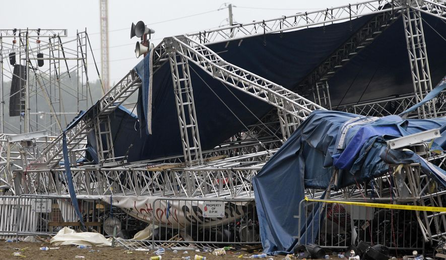 In this Sunday, Aug. 14, 2011 file photo, the Indiana State Police and authorities survey the collapsed rigging and Sugarland stage on the infield  at the Indiana State Fair in Indianapolis. On Wednesday, Sept. 23, 2015, the Indiana Supreme Court is weighing whether to take up a case involving a company that supplied stage rigging involved in the deadly 2011 Indiana State Fair stage collapse. (AP Photo/Darron Cummings, File)