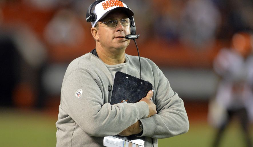 "FILE- In this Aug. 20, 2015, file photo, Cleveland Browns offensive line coach Andy Moeller stands on the sideline during an NFL preseason football game against the Buffalo Bills in Cleveland. Moeller, who is suspended, will not be charged for an alleged assault after a woman said he tried to strangle her,  City prosecutor Jim Walters said in a statement Wednesday, Sept. 23, 2015. Walters said that he could not find proof ""beyond a reasonable doubt"" that Moeller had assaulted the women, who identified herself on a 9-1-1 call as his fiancee and said he had been violent before. The team said Moeller's suspension ""remains indefinite."" (AP Photo/David Richard, File)"