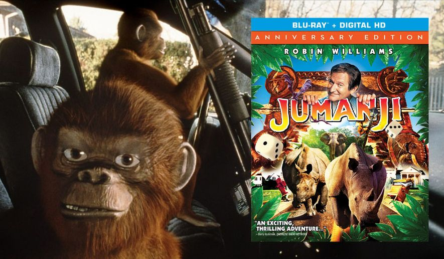 Monkeys cause mayhem in Jumanji: 20th Anniversary Edition, now availabe in Blu-ray from Sony Pictures Home Entertainment.