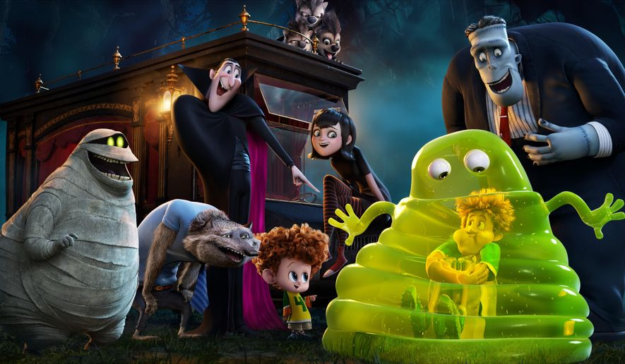 """This image released by Sony Pictures Animation shows a scene from in Columbia Pictures and Sony Pictures Animation's """"Hotel Transylvania 2."""" (Sony Pictures Animation via AP)"""