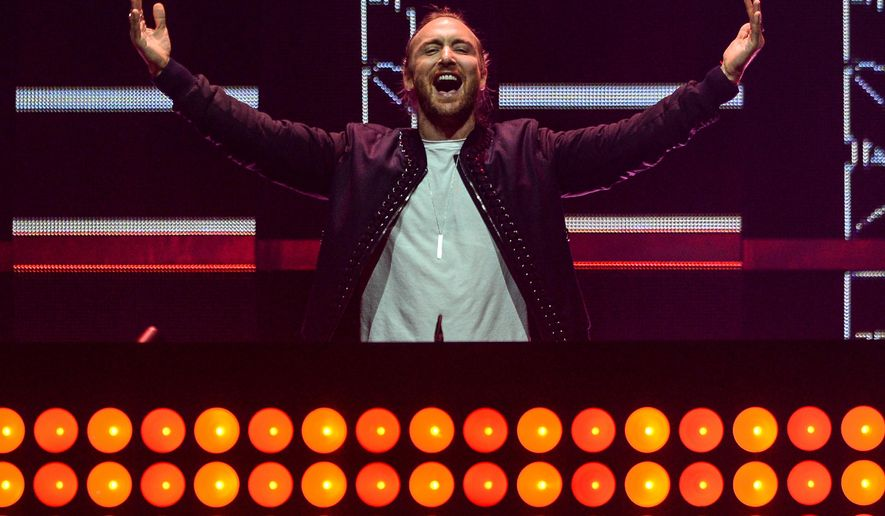 FILE - In this Sept. 18, 2015 file photo, David Guetta performs at the 2015 iHeartRadio Music Festival in Las Vegas. Guetta will join Afrojack and other EDM acts at the TomorrowWorld festival on Sept. 25-27 outside of Atlanta in Chattahoochee Hills, Ga. (Photo by Al Powers/Powers Imagery/Invision/AP)