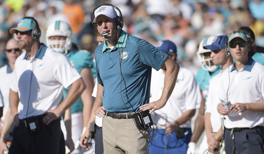 Miami Dolphins head coach Joe Philbin watches play against the Jacksonville Jaguars during the first half of an NFL football game, Sunday, Sept. 20, 2015, in Jacksonville, Fla. (AP Photo/Phelan M. Ebenhack)
