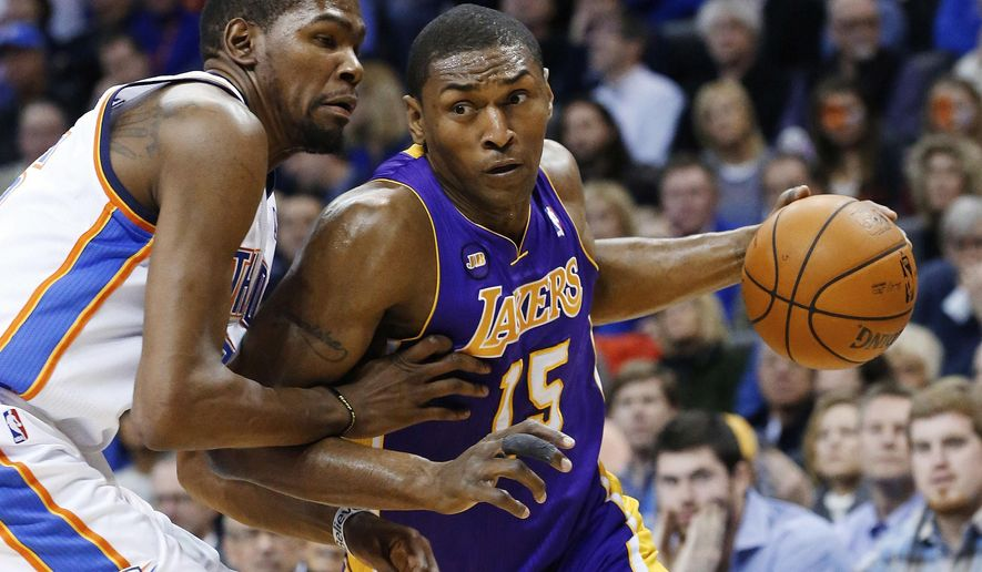 FILE - in this March 5, 2013, file photo, Los Angeles Lakers forward Metta World Peace (15) drives around Oklahoma City Thunder forward Kevin Durant during an NBA basketball game in Oklahoma City. The Los Angeles Lakers have re-signed forward Metta World Peace, Thursday, Sept. 24, 2015. (AP Photo/Sue Ogrocki, File)