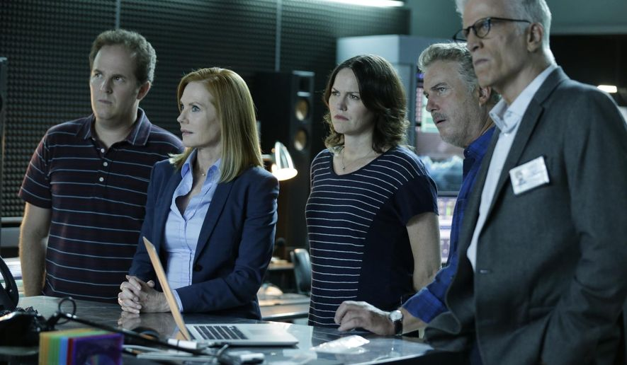 "In this image released by CBS, David Berman, from left, Marg Helgenberger, Jorja Fox, William Petersen and Ted Danson appear in a scene from the 2-hour series finale of ""CSI: Crime Scene Investigation,"" airing on Sunday at 9 p.m. EDT on CBS.  (Sonja Flemming/CBS via AP) MANDATORY CREDIT; NO ARCHIVE; NO SALES; FOR NORTH AMERICAN USE ONLY."