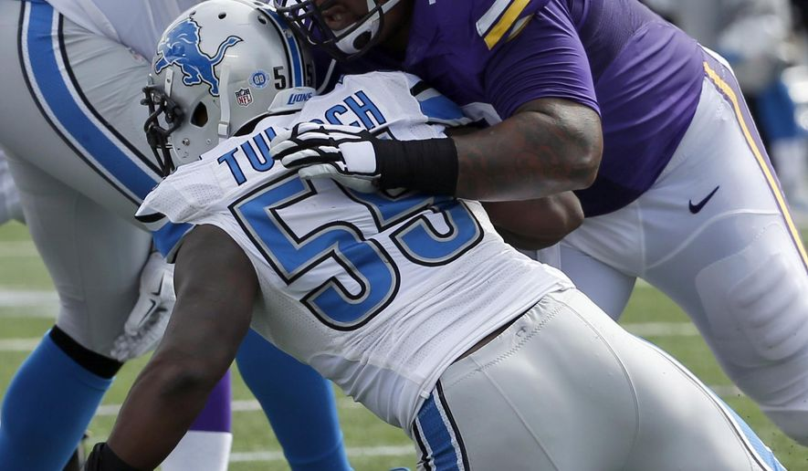 In this Sept. 20, 2015, file photo, Minnesota Vikings guard Mike Harris keeps Detroit Lions linebacker Stephen Tulloch (55) away from the play during the first half of an NFL football game in Minneapolis. Harris had made sure the Vikings haven't had to worry about the right guard, despite his inexperience at the position. (AP Photo/Ann Heisenfelt)