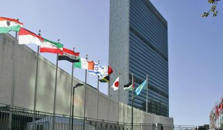 In this Sept. 18, 2007 file photo, the flags of member nations fly outside of the United Nations headquarters in New York. (AP Photo/Mary Altaffer, File)