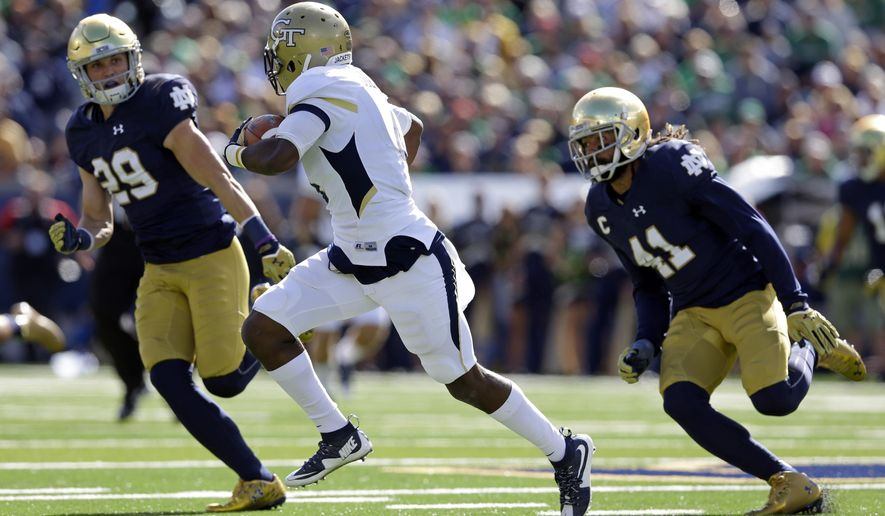 In this Saturday, Sept. 19, 2015, photo, Notre Dame cornerback Matthias Farley (41) and safety Nicky Baratti (29) chase Georgia Tech running back Brady Swilling (4) during the first half of an NCAA college football game in South Bend, Ind. Defensive back Matthias Farley has always been ready to be the next man in for No. 6 Notre Dame.  (AP Photo/Michael Conroy)