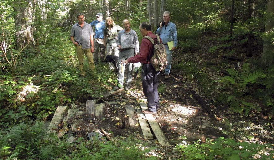 Officials from the Vermont All-Terrain Vehicle Association, the Green Mountain Club and the state of Vermont visit a spot where a private ATV trail could cross a portion of state land Thursday, Sept. 24, 2015, in Stockbridge, Vt. The spot in the foreground is where the trail would cross a small brook. If the proposal is approved, it would be the first time ATVs were allowed on state land. (AP Photo/Wilson Ring)